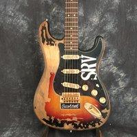 venda de guitarras venda por atacado-Venda direta da fábrica de guitarra elétrica frete grátis SRV Retro relíquias ST Imagem tiro real
