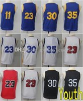 Wholesale boys 11 - New Youth Jersey 11 Klay Thompson 23 Draymond Green 30 35 Blue White Red Black 2018 Kids Stitched Jerseys
