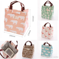 Wholesale Picnic Basket Food - 6 Styes Insulated Lunch Bag Flamingo Bear Drawing Picnic Lunch Pouch Bag Baskets With String Home Organization WX9-392