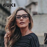 компьютеры с кошачьим глазом оптовых-BUKE 2018  Design Metal Rivet Cat Eye Ladies Glasses Frames Square Women Optical Fashion Eyewear Computer Glasses