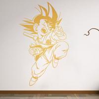 decalques de quarto de anime venda por atacado-Muro Manga Anime Etiqueta Son Goku parede do quarto decalque adesivos de vinil Mural Room Decor Art decalques removível vinil Wallpaper