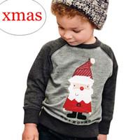 Hot selling INS xmas christmas santa print Pullover Sweaters boys gray long sleeved t shirts baby elephant floral tshirts tops cotton raglan t-shirts