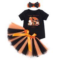 costume citrouille bébé achat en gros de-Halloween bébé 4 conception barboteuse + jupe + bandeau costume bébé filles Halloween vêtements ensembles citrouille crâne sorcière impression tenues d'été 0-24 m