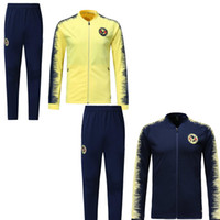 Wholesale sportswear clubs for sale - Group buy 2019 New Mexico club America tracksuit jacket set C BLANCO yellow black Full zipper Football club sportswear training sets