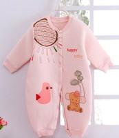 sonbahar kış uyku tulumu toptan satış-2018 sonbahar ve kış modelleri pamuk yenidoğan onesies pamuk bebek giysileri bebek uyku tulumu iki değişti giymek