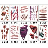 Wholesale lips tattoos online - 2018 Hot Halloween Series Stickers Scars Tattoos Decor Fake Scab Makeup Party Horror Wound Scary Water Proof Paster free ship via DHL