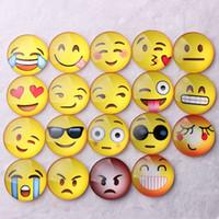 Wholesale Cute Fridge Magnet Toy - 19 Styles Cute Round Cartoon Smile Emoji Face Refrigerator Sticker Fridge Magnet Toy Glass Fridge Magnet