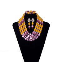ingrosso gioielli di pietre arancioni-Natural Stone Orange Nigerian Wedding Beads Jewelry Set collana di perline Orecchini Set moda nuziale gioielli da sposa africani Set per le donne