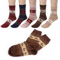 calcetines de venado al por mayor-NUEVO venado de navidad diseño de alces casuales de invierno cálido lana de punto calcetines femeninos decoración de navidad suministros 10 par
