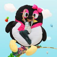 Wholesale plush christmas penguin - Dorimytrader Kawaii Soft Cartoon QQ Penguin Plush Beanbag Anime Sleeping Bag Leisure Sofa Tatami Lazy Bed Soft Gift 200x150cm