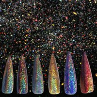 маникюрные ящики для ногтей оптовых-A-nail 0.5g/box Holographic Rainbow Nail Glitter Flakes Laser Super Shine Pigment Powder Dust Manicure Nail Art Decoration