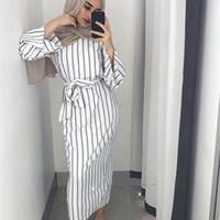 vestidos islâmicos maxi venda por atacado-Muçulmano Stripe Maxi Vestido Trumpet Manga Abaya Saia Longa Robe Vestidos Túnica Kimono Jubah Oriente Médio Ramadan Árabe Vestuário Islâmico