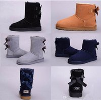 Wholesale cheap pink bow ties - 2018 New WGG Australia Classic snow Boots High Quality Cheap women Bow tie Ankle winter boots fashion discount shoes black grey navy blue
