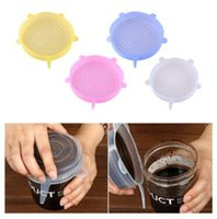 Wholesale family foods - 2 Colors 6pcs set Silicone Stretch Suction Pot Lids Food Grade Fresh Keeping Wrap Seal Lid Pan Cover Kitchen Accessories CCA10117 20set