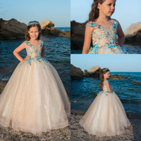 Wholesale beauty pageants online - Princess Ball Gown Girls Pageant Dress Embroidery Tulle Crystal Cap Sleeves Beauty Flower Girl Dresses