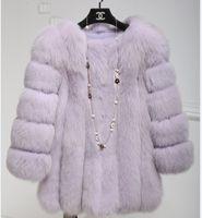 Wholesale Women Winter Long Coats Cheap - 2018 Cheap Long Fur Coat Winter Sleeves Fashion Women Faux Fox Fur Coats Furry Woman Fake Fur Jacket Plus Size Coat MM91