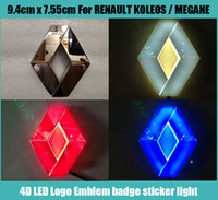 renault aufkleber großhandel-9,4 cm * 7,55 cm Auto Emblem licht für Renault koleos megans Abzeichen Aufkleber LED licht 4D logo Embleme licht