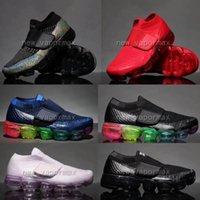 Wholesale Knitted Baby Boy Shoes - Kids children vapormax Boy girl baby Shoes Hook & Loop rainbow black multi white knit trainers Air cushion sneakers running shoes sieze28-35