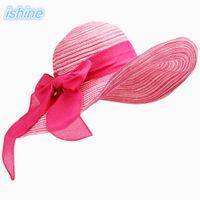 1pc cappelli da spiaggia donna cappelli 20187 estate moda pieghevole floppy cappelli  da sole signore casual sombreros bowknot cappello signore d4499920b724