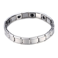 bracelets de santé de qualité achat en gros de-Mode Argent Plaqué Santé Bracelet Magnétique Pour Femmes Top Qualité En Acier Inoxydable Aimant Bracelets Bracelet Lien Chaîne Bijoux En Gros