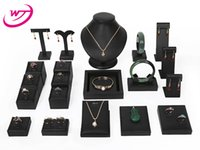 Wholesale white necklace bust - 20 Combo Set Black White PU Lether Necklace Bracelet Ear Ring Jewelry Display Furniture Set Jewellery Stand Bust Holder Showcase