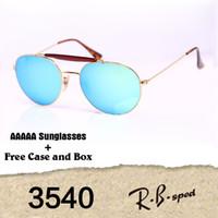 Wholesale Flash Double - New Arrival 3540 Sunglasses For Women Men Brand Designer Double Bridge Metal Frame uv400 Flash Mirror glass Lenses with cases and box