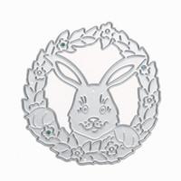 цветочные папки оптовых-Цветок кролика плашки металла тиснение папки трафарет для DIY скрапбукинга фотоальбом украшения бумаги карты ремесло