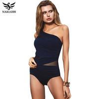 Wholesale sexy monokini one shoulder - NAKIAEOI Sexy One Piece Swimsuit Women 2017 Summer Beachwear Mesh One Shoulder Swimwear Bathing Suits Bodysuit Monokini Swimsuit