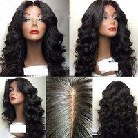 partie naturelle de la coiffure achat en gros de-Vierge Brésilienne de Cheveux Humains Perruques Avant Dentelle Corps Vague de Cheveux Humains Pleine Dentelle Perruque Lâche Partie Moyenne Ondée Pour Les Femmes Noires Couleur Naturelle