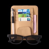 Wholesale leather case for pens resale online - NEW Car style Auto Sun Visor Clip for Sun Glasses Card Pen Holder Multifunctional Storage Bag Leather