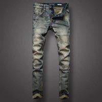 ingrosso jeans a mosca per bottoni per uomini-2018 Primavera Autunno Vintage uomo jeans Slim Plus Size 29-38 Straight Button Fly vendita calda Jeans da uomo di alta qualità GD501