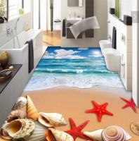 wallpapers stickers Canada - 3 d pvc flooring custom wall sticker 3 d beach sea shells starfish 3d bathroom flooring painting photo wallpaper for walls 3d