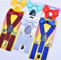 Wholesale elastic straps braces suspenders - Fashion Children Suspenders Pure Color Boy Y-Back Braces Girls Baby Elastic Adjustable Straps Leisure Party Design 4 5sl Y