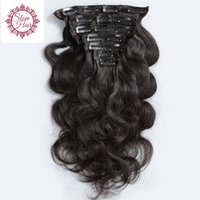 Wholesale rosa hair brazilian body wave for sale - Group buy Slove Rosa Product Body Wave Clip In Human Hair Extensions Mongolian Remy Hair Pieces And g Set Natural Color