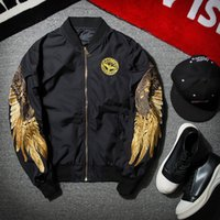 Wholesale chinese red jackets - Wholesae New Spring Black Embroidery Bomber Jacket Men Streetwear Brand-clothing cheap price get from chinese factory directly