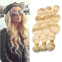 productos crudos al por mayor-Body Wave Raw Virgin Indian Hair 8-30 inch 613 # Blonde Remy Extensiones de cabello Body Wave 3 Bundles Indian Virgin Hair Products