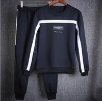 mavi kıyafetler toptan satış-İlkbahar Sonbahar Yeni Marka erkek Giyim Gençlik Rahat Ceket Spor Suit Siyah Beyaz Ve Mavi 3 Renkler Erkekler Için Eşofman