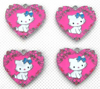 Wholesale heart shaped charms for online - and retail Heart shaped KT New multicolor series Metal Charms Jewelry Making Pendants