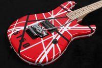 Wholesale floyd rose white - Rare Gang Eddie Van Halen 5150 Black White Stripe Red Electric Guitar Floyd Rose Tremolo Bridge, Maple Neck & Fingerboard, Black Dot Inlay