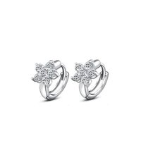 Wholesale nice birthday party - H:HYDE Nice Shipping 1pair Womens Silver Color Clear CZ Zircon Snowflake Hoop Earrings for Women Ladies Birthday Party Gifts New