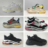 zapatillas de tamaño mixto al por mayor-Triple s 2019 Daddy Shoes diseñador zapatillas, zapatos de cuero de los hombres zapatos de mujer tamaño 36-45 con colores de mezcla de caja