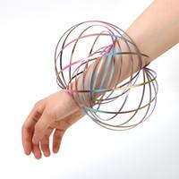 Wholesale slinky wholesale - Creative Toroflux Flowtoy Flow Ring Decompression Toy Dazzle Color Magic Arm Slinky Bracelet Novelty Bangle Stainless Steel 6dc WW