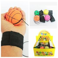 Wholesale band toy - 63mm Throwing Bouncy Ball Rubber Wrist Band Bouncing Balls Kids Funny Elastic Reaction Training Balls Antistress Toys CCA9629 100pcs
