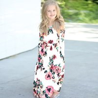 Wholesale flowers england for sale - Retail flower girl dress printed Bohemian beach dress plus size long maxi dresses kids designer girls dresses children boutique clothing