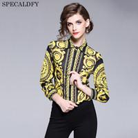 kaliteli bayan bluzları toptan satış-2018 Pist Tasarımcısı Tops Yüksek Kalite Kadınlar Moda Retro Vintage Bluz Bayanlar Ofis Gömlek Bayan Tops Ve Bluzlar