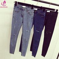 xxl hohe taillenjeans großhandel-BellFlower Frauen Casual Fashion Jeans Koreanische Dünne Hohe Taille Jeans Hose Scratch Getragen Stretch Bleistift XXL Plus Größe