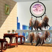 Wholesale dragonfly wall - craft decoration Large Dream Catcher Wall Hanging Brown Dreamcatcher Indian Wolf Pattern Home Car Decor Craft