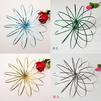 Wholesale chinese sculptures - 7 Colors Toroflux Flow Rings 5 INCH Stainless Steel Kinetic Spring Metal SUS Magic Ring 3D Sculpture DecompressionToys