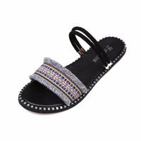 franja plana sandálias mulheres venda por atacado-sandálias de verão das mulheres chinelos chinelos de peixe franja boca plana