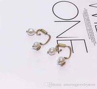 damla şekilli boncuklar toptan satış-Yeni arrial damla asimetrik küpe ile elmas ve doğa Inci boncuk ve arı şekli saplama kadınlar için Küpe kadın takı PS6717